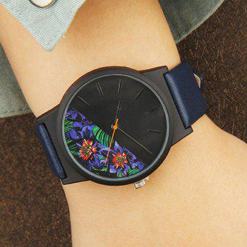 Faux Leather Floral Face Watch - BLUE