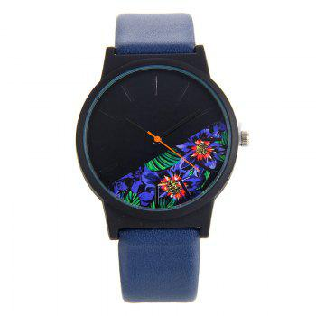 Faux Leather Floral Face Watch - BLUE BLUE