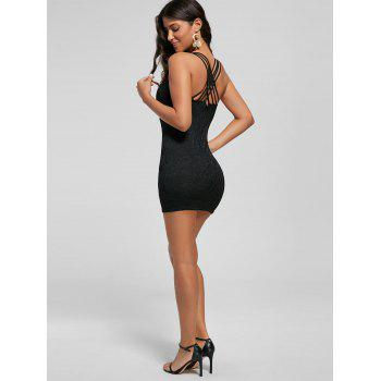 Strappy Lace Mini Bodycon Dress - Noir M