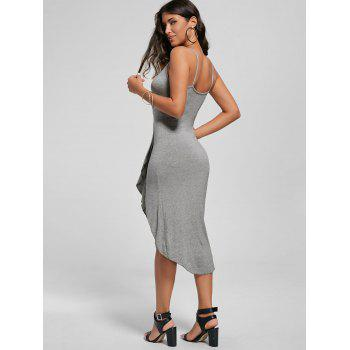 Knotted Asymmetrical Dress - GRAY L