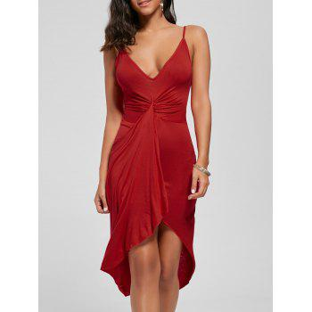 Knotted Asymmetrical Dress - RED S