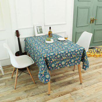 Bohemian Linen Sika Deer Floral Print Table Cloth - COLORFUL W55 INCH * L55 INCH