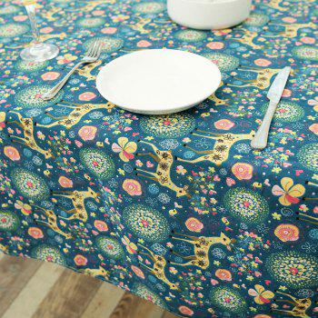 Bohemian Linen Sika Deer Floral Print Table Cloth - W55 INCH * L55 INCH W55 INCH * L55 INCH