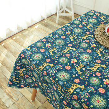 Bohemian Linen Sika Deer Floral Print Table Cloth - W55 INCH * L71 INCH W55 INCH * L71 INCH