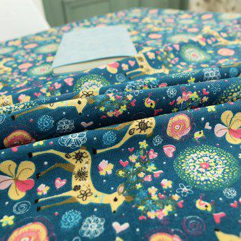 Bohemian Linen Sika Deer Floral Print Table Cloth - W55 INCH * L40 INCH W55 INCH * L40 INCH