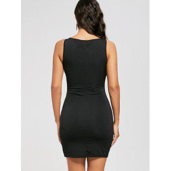 Sleeveless Cut Out Lace Up Bodycon Dress - BLACK BLACK