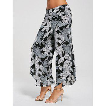 High Waist Leaf Print Layered Palazzo Pants - SMOKY GRAY L