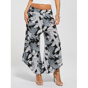 High Waist Leaf Print Layered Palazzo Pants