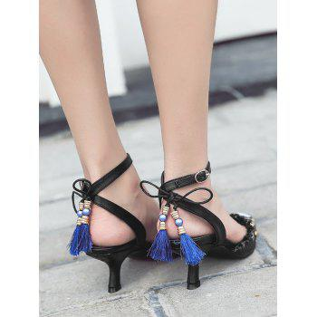 Tassels Kitten Heel Anchor Pattern Pumps - BLACK 39