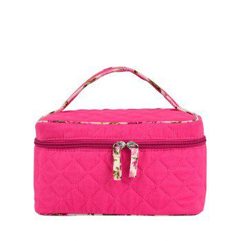 Top Handle Quilted Cosmetic Bag - ROSE RED ROSE RED