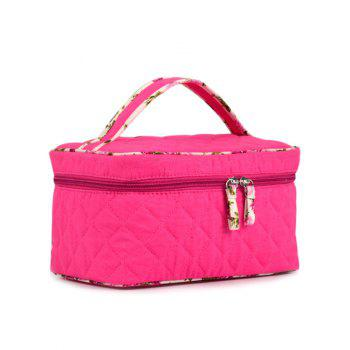 Top Handle Quilted Cosmetic Bag -  ROSE RED