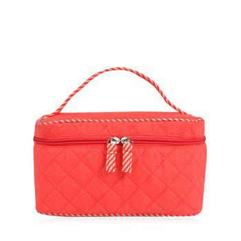 Top Handle Quilted Cosmetic Bag - WATERMELON RED WATERMELON RED