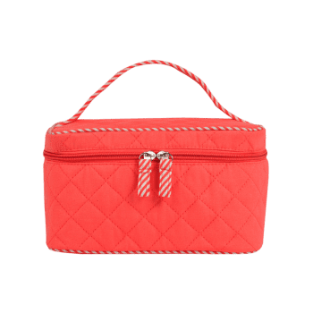 Top Handle Quilted Cosmetic Bag -  WATERMELON RED