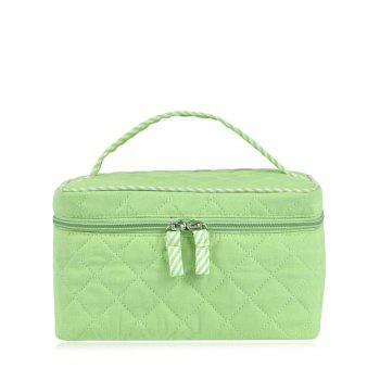 Top Handle Quilted Cosmetic Bag - LIGHT GREEN LIGHT GREEN
