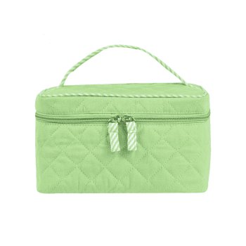 Top Handle Quilted Cosmetic Bag -  LIGHT GREEN