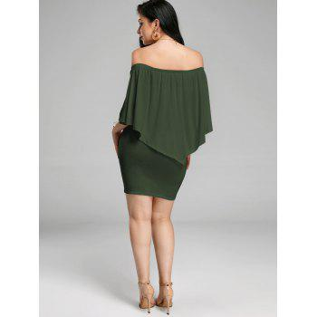 Off The Shoulder Poncho Popover Bodycon Dress - Vert Armée S