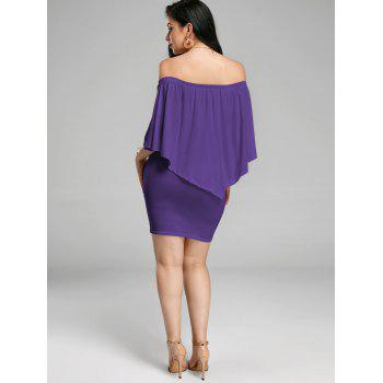 Off The Shoulder Poncho Popover Bodycon Dress - Pourpre M
