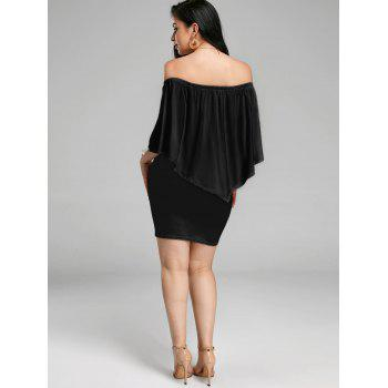 Off The Shoulder Poncho Popover Bodycon Dress - Noir L