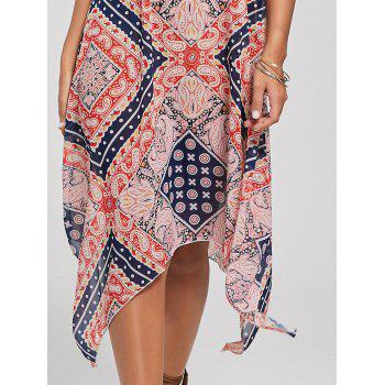 Bohemian Tribal Print Lace Up Robe de mouchoir - multicolorcolore M