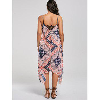 Bohemian Tribal Print Lace Up Handkerchief Dress - L L