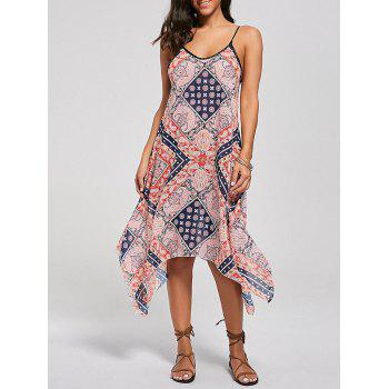 Bohemian Tribal Print Lace Up Handkerchief Dress - COLORMIX L