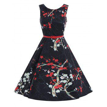 Plum Flower Print A Line Vintage Dress