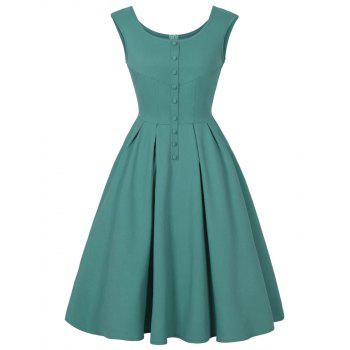 Scoop Neck Buttoned Sleeveless Vintage Dress