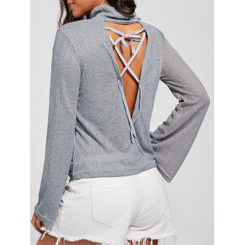 Lace Up Open Back Sheer Turtleneck Sweater