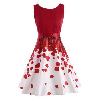 Petal Print Party Semi Formal Dress