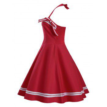 Bouton Embellished Plus Size Halter Pin Up Dress - Rouge 3XL