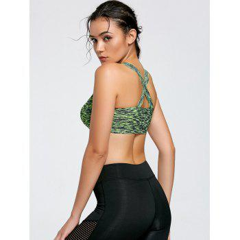 Marled Criss Cross Yoga Bra with Padding - GREEN XL