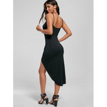 Knotted Asymmetrical Dress - BLACK BLACK