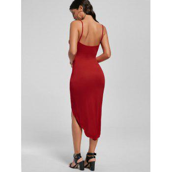 Knotted Asymmetrical Dress - RED RED