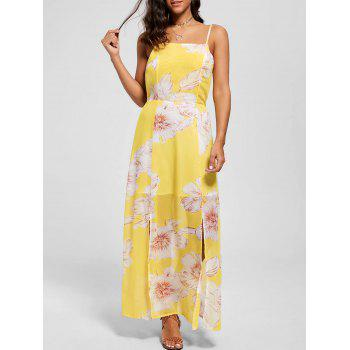 Floral Spaghetti Strap Maxi Beach Dress - YELLOW YELLOW
