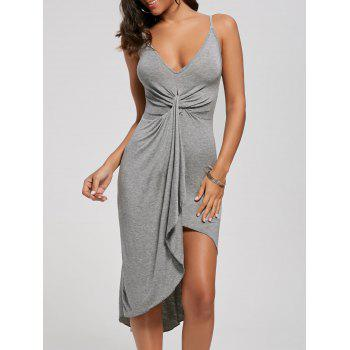 Knotted Asymmetrical Dress - GRAY GRAY