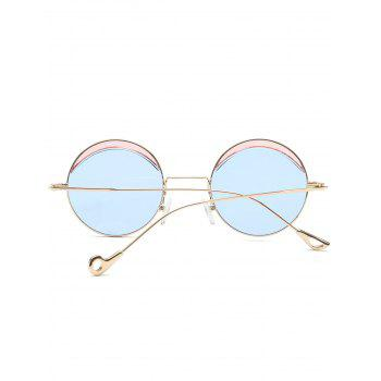 Two-tone Spliced Round Hollow Out Leg Sunglasses - LIGHT BLUE
