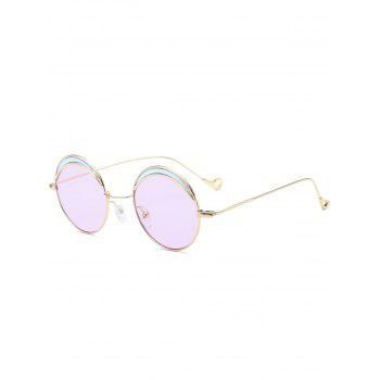 Two-tone Spliced Round Hollow Out Leg Sunglasses - LIGHT PURPLE LIGHT PURPLE