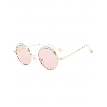 Two-tone Spliced Round Hollow Out Leg Sunglasses - LIGHT PINK LIGHT PINK