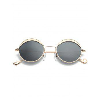 Two-tone Spliced Round Hollow Out Leg Sunglasses - BLACK