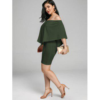 Off The Shoulder Poncho Popover Bodycon Dress - ARMY GREEN S