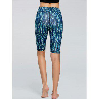 Pattern Short Active Leggings - BLUE L