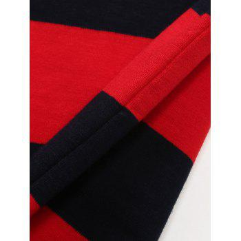 Color Block Panel Badge Embroidered Stripe Polo T-shirt - BLUE/RED XL