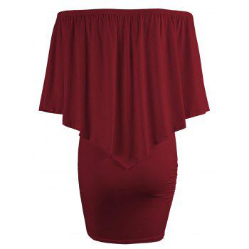 Off The Shoulder Poncho Popover Bodycon Dress - WINE RED XL