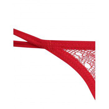 Flower Embroidered Low Waist G-String - RED ONE SIZE