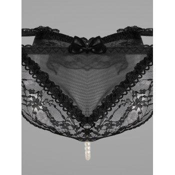Lace Faux Pearl G-String - Noir ONE SIZE