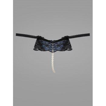 Lace Faux Pearl G-String - BLUE BLUE