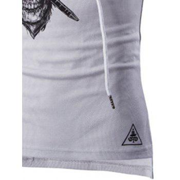Skull Print Drawstring Hooded Sport Tank Top - WHITE 2XL