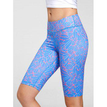 High Waist Funky Gym Leggings - BLUE XL