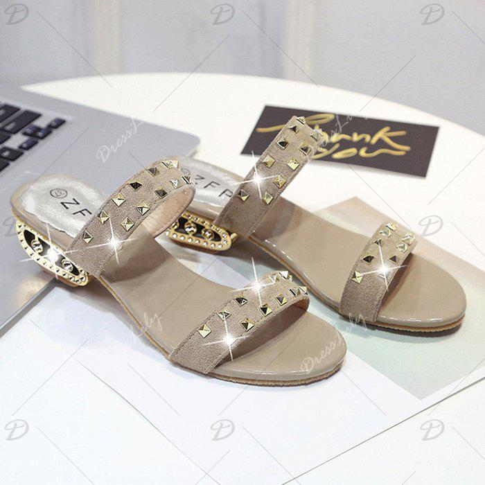 Rivets Suede Strange Style Slippers - APRICOT 37