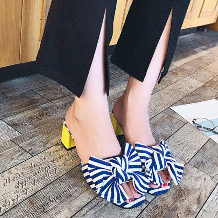 Striped Bow Mid Heel Slippers - BLUE 38